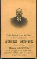 Souvenir Mortuaire MINNE Jules (1867-1928) Né à GENAPPE - Images Religieuses