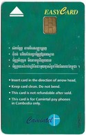 Cambodia - Camitel - Easycard Green 5$, (No Instructions Below Arrow), Used - Cambodia