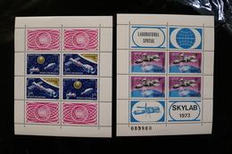 Romania 2528 Skylab C196-97 Apollo-Soyuz4 Vals + Labels Mini Sheet MNH 1974 A04s - Blocs-feuillets