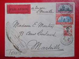 """INDOCHINE  Rare Lettre Poste Aérienne - Cachet """"20ème Anniversaire Premier Vol Aérien à Saïgon"""" - 1930 - Indochine (1889-1945)"""