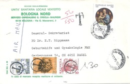 "Taxierter Brief  ""Unita Sanitaria Bologna"" - Basel             1984 - Suisse"