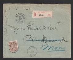 Nr. 61 Op Aangetekende Brief 1899 Van MONS Naar BLANKENBERGHE + RETOUR - 1893-1907 Stemmi