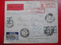"""INDOCHINE - Rare Lettre Recommandée Poste Aérienne - Cachet """"Par Malle Aérienne Hollandaise"""" - 1930 - Indochina (1889-1945)"""