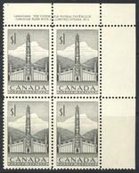 """1953 Canada MNH OG UR Plate Block Of 4 Stamps 1 Dollar  """"Totem Pole"""" Sc.321 - 1952-.... Reign Of Elizabeth II"""