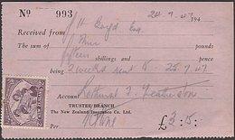 2d PEACE ON 1947 RECEIPT - 1907-1947 Dominion