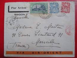 INDOCHINE- Divers Sur Lettre Par Avion Via Air-Orient - Cachet Rouge De Contrôle - Au Dos  Réunion Des Officiers Saïgon - Indochina (1889-1945)