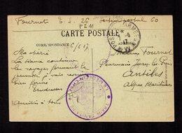 WWI Guerre 19/18 Tàd POSTE AUX ARMEES Bureau Frontière W ABBEVILLE 7-6-17 + Franchise Train Sanitaire Médecin Chef  TTB - Postmark Collection (Covers)