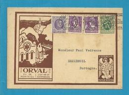 """198+338 Op Geillustreerde Kaart Met ENGEL """" ORVAL """" Met Stempel BRUXELLES - Stamped Stationery"""