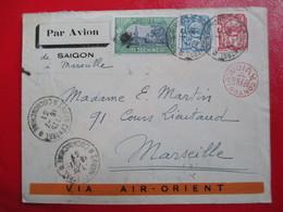 INDOCHINE- Divers Sur Lettre Par Avion Via Air-Orient - Cachet Rouge De Contrôle - 1931- Réunion Officiers Saïgon - Indochina (1889-1945)