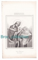 Saint Dunstan, Angleterre, Période Saxonne, Gravure D'Augustin François Lemaître, Vernier, N° 17 - Images Religieuses