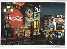 Inghilterra London Londra Piccadilly By Night Viaggiata Condizioni Come Da Scansione - Piccadilly Circus