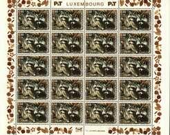 Luxembourg Feuille De 20 Timbres à 0,60 + 0,10 Euro Raton Laveur, Waschbär, Raccoon Timbre De Bienfaisance 2003 - Full Sheets