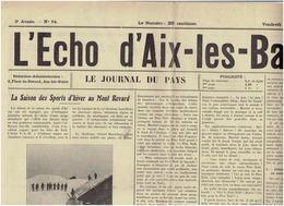 L ECHO D AIX Les BAINS 21 Décembre 1928 : Sports D'hiver Au MONT REVARD - Newspapers