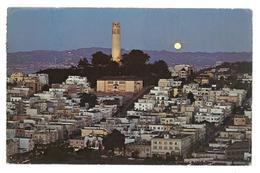 U.S.A. Stati Uniti D'America Majestic Colt Tower Shines Brightly Over San Francisco On A Moonlight Night Viaggiata 1980 - San Francisco