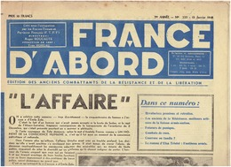 N°233 FRANCE D ABORD  ( FTPF) Du 15 Janvier 1948  (E Triolet ) - Newspapers