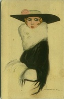 NANNI SIGNED 1910s  POSTCARD - WOMAN WITH BIG HAT  AND FUR - N.83-2 (BG273) - Nanni