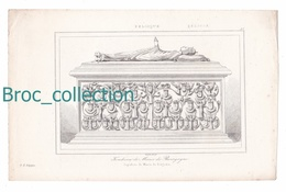 Tombeau De Marie De Bourgogne, Bruges, Belgique, Gravure D'Augustin François Lemaître N° 49 - Estampes & Gravures