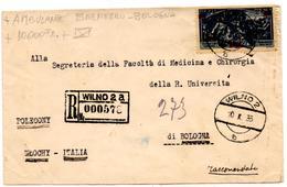Lettre Recommandée De Wilno Vilnius (10.10.1935) Pour Bologne Italie Ambulante Brennero - 1919-1939 République