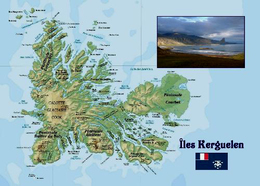 TAAF Kerguelen Islands Map New Postcard Landkarte AK - TAAF : French Southern And Antarctic Lands