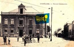 ANDERLUES - MAISON COMMUNALE - Carte Animée Et Circulée En 1920 - La Hulpe