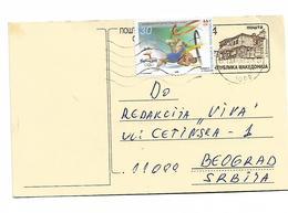 Macedonia Post Card Sydney 2000 Wrestling Stamp Send To Serbia - Macedonia
