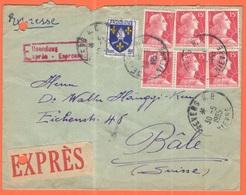 FRANCIA - France - 1955 - 5F Saintonge + 6 X 15F Marianne De Muller - Exprès - Viaggiata Da Nevers Per Bâle, Suisse - Cartas