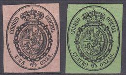 ESPAÑA - SPAGNA - SPAIN - ESPAGNE - 1855- Lotto Di 2 Valori Nuovi Con Gomma Non Integra: Yvert Serv. 6 E 7. - Dienstpost