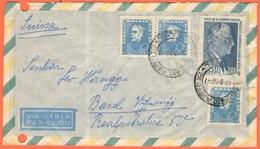 BRASILE - BRASIL - 1958 - 3 X 1,50 + 7,00 Visita Giovanni Gronchi - Par Avion - Viaggiata Da Brasil Per Basel, Suisse - Brasile