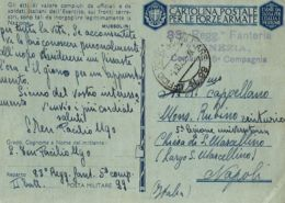 FRANCHIGIA WWII POSTA MILITARE 99 1942 BERANE MONTENEGRO X NAPOLI CAPPELLANO - 1900-44 Vittorio Emanuele III