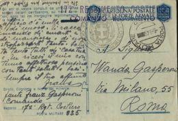 FRANCHIGIA WWII POSTA MILITARE 225 1943 CORBARA CORSICA X ROMA - 1900-44 Vittorio Emanuele III