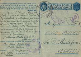 FRANCHIGIA WWII POSTA MILITARE 226 1943 AJACCIO CORSICA X VERCELLI - 1900-44 Vittorio Emanuele III