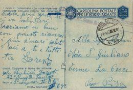 FRANCHIGIA WWII POSTA MILITARE 64 1943 CAURO CORSICA X PISA - 1900-44 Vittorio Emanuele III