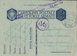 FRANCHIGIA WWII POSTA MILITARE 76 1942 POMPEI X BOLOGNA GENIO MARCONISTI - 1900-44 Vittorio Emanuele III