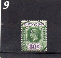 1912 GV 30c Green & Violet Used - Ceylon (...-1947)