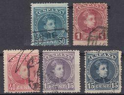 ESPAÑA - SPAGNA - SPAIN - ESPAGNE - 1901/1905- Lotto Di 5 Valori Usati: Yvert 215, 216A, 221, 222 E 223. - 1889-1931 Royaume: Alphonse XIII