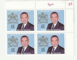 Maroc. Coin De 4 Timbres De 2001 N° 1322. SM Le Roi Mohamed VI. Pli Sur La Marge. Timbres Intacts. - Morocco (1956-...)