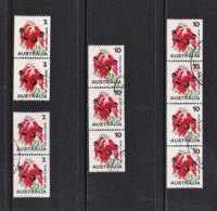 Australia 1971, 1975 Flowers 7c & 10c Sturt's Desert Pea Coil Used Multiples - 1966-79 Elizabeth II