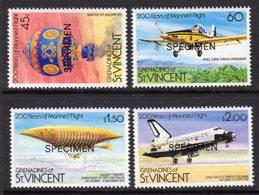 ST VINCENT GRENADINES - 1983 MANNED FLIGHT ANNIVERSARY SET (4V) O/P SPECIMEN FINE MNH ** SG 250-253 - St.Vincent & Grenadines