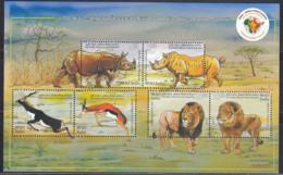 India MNH 2015, MS Africa Summit, Animal. Lion, Rhino, Black Buck, - Unused Stamps