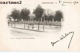 HERICOURT LA PLACE D'ARMES ET LES ECOLES 1900 - Non Classificati