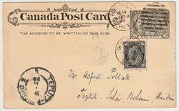 Carte Postale P16 (Webb) 1¢ Noir De Berlin (Ont) à Teplitz (Autriche) Le 29/6/1899 Plus 1/2c Noir (Scott 66) - 1860-1899 Règne De Victoria