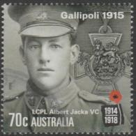 AUSTRALIA - USED 2015 70c Centenary Of World War I 1915: Gallipoli -LCPL Albert Jacka VC - Soldier - 2010-... Elizabeth II