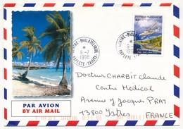 """POLYNESIE FRANCAISE - Enveloppe Affr. 85F Aviation Oblitérée """"CENTRE PHILATELIQUE -PAPEETE - TAHITI"""" 9-7-1998 - Lettres & Documents"""