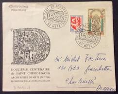 D303-1 Moselle Metz «XIIè Centenaire St Chrodégand» 1482 Mont St Michel 8/5/1966 6 Jours Après PJ + 1468 - Postmark Collection (Covers)