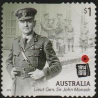 AUSTRALIA - DIE-CUT-USED 2018 $1.00 Centenary Of World War I 1918: Lieut. Gen. John Monash - 2010-... Elizabeth II