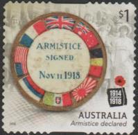 AUSTRALIA - DIE-CUT-USED 2018 $1.00 Centenary Of World War I 1918: Armistice Declared - Flags - 2010-... Elizabeth II