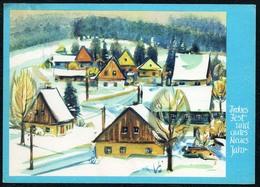 C4960 - Glückwunschkarte Neujahr - Winterlandschaft Künstlerkarte - Planet Verlag DDR - Neujahr