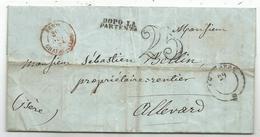 ISERE CACHET ENTREE SARD CHAPAREILLAN 1851 LETTRE CACHET SARDE CHAMBERY TAXE 25DT TARIF FRONTALIER ENSEMBLE RARE - Storia Postale
