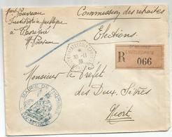 LETTRE REC FRANCHISE  MAIRIE THORIGNE ELECTION C. HEX PERLE ST MAIXENT L'ECOLE CPN°6  DEUX SEVRES 30.11.1936 RARE - Cachets Manuels