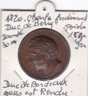 CHARLE FERDINAND DUC DE BERRU  1820 // DUC DE BORDEAUX NOUS EST RENDU - France